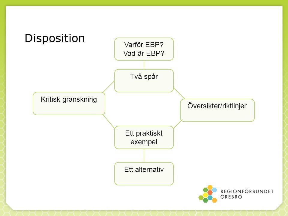 Disposition Varför EBP? Vad är EBP? Två spår Kritisk granskning Översikter/riktlinjer Ett praktiskt exempel Ett alternativ