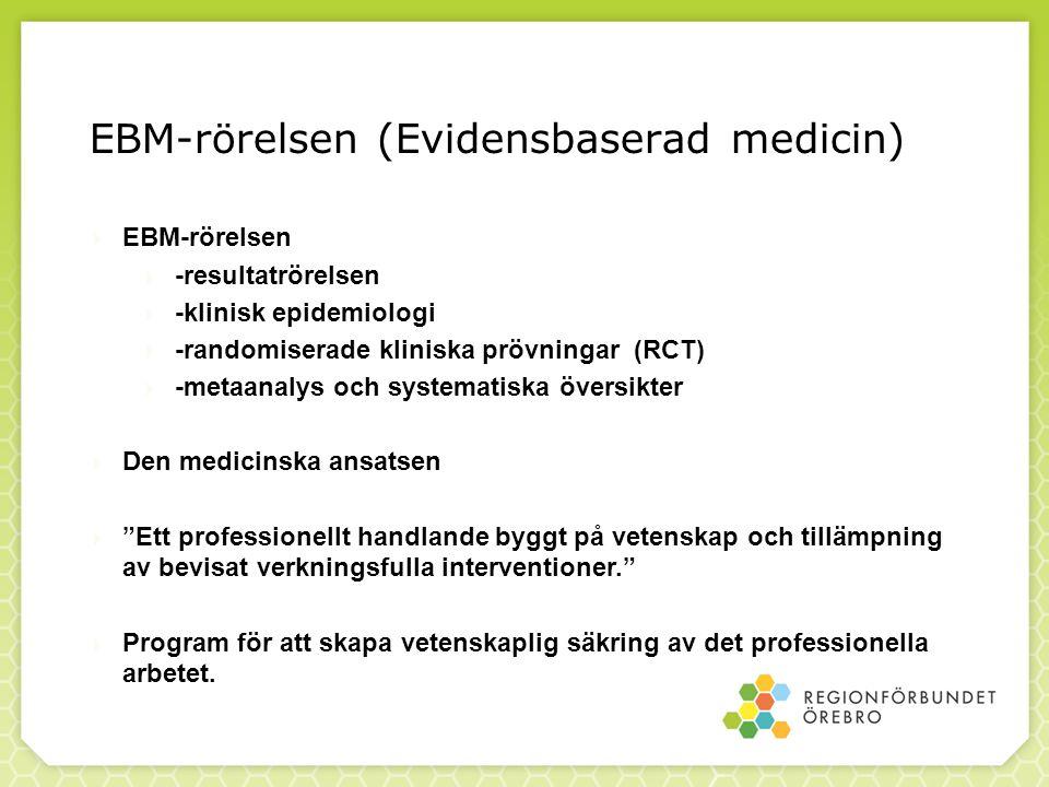 EBM-rörelsen (Evidensbaserad medicin)  EBM-rörelsen  -resultatrörelsen  -klinisk epidemiologi  -randomiserade kliniska prövningar (RCT)  -metaana