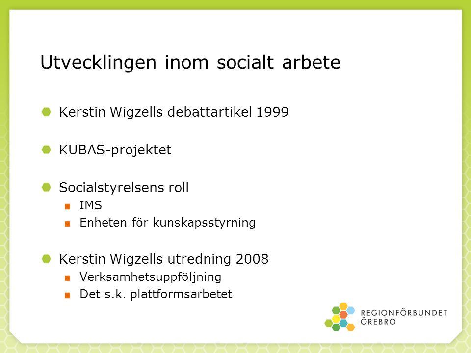 Utvecklingen inom socialt arbete Kerstin Wigzells debattartikel 1999 KUBAS-projektet Socialstyrelsens roll IMS Enheten för kunskapsstyrning Kerstin Wi