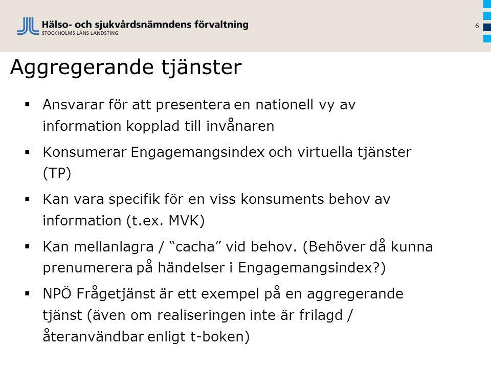 Aggregerande tjänster 6  Ansvarar för att presentera en nationell vy av information kopplad till invånaren  Konsumerar Engagemangsindex och virtuell