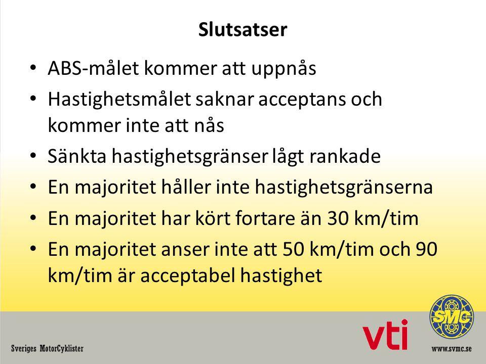 Slutsatser ABS-målet kommer att uppnås Hastighetsmålet saknar acceptans och kommer inte att nås Sänkta hastighetsgränser lågt rankade En majoritet håller inte hastighetsgränserna En majoritet har kört fortare än 30 km/tim En majoritet anser inte att 50 km/tim och 90 km/tim är acceptabel hastighet