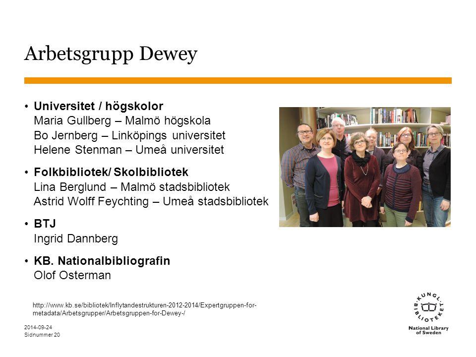 Sidnummer Arbetsgrupp Dewey Universitet / högskolor Maria Gullberg – Malmö högskola Bo Jernberg – Linköpings universitet Helene Stenman – Umeå univers
