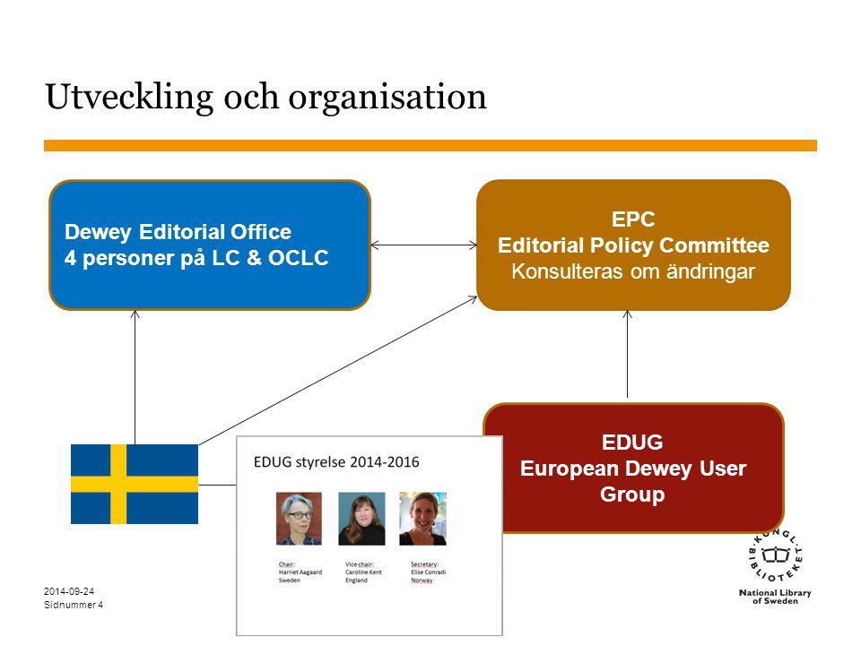 Sidnummer Utveckling och organisation 2014-09-24 4 Dewey Editorial Office 4 personer på LC & OCLC EPC Editorial Policy Committee Konsulteras om ändrin