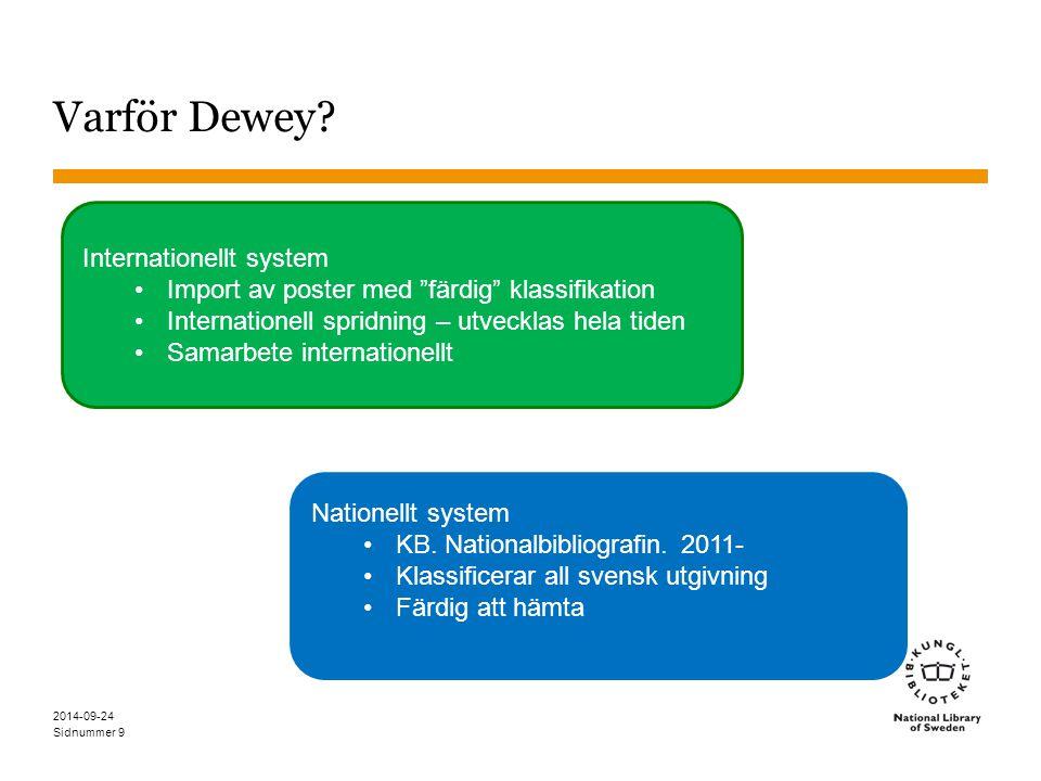 """Sidnummer 2014-09-24 9 Varför Dewey? Internationellt system Import av poster med """"färdig"""" klassifikation Internationell spridning – utvecklas hela tid"""