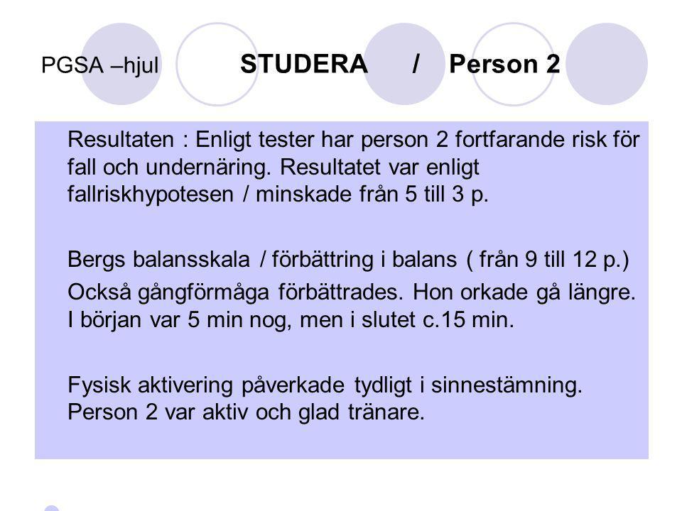 PGSA –hjul STUDERA / Person 2 Resultaten : Enligt tester har person 2 fortfarande risk för fall och undernäring. Resultatet var enligt fallriskhypotes
