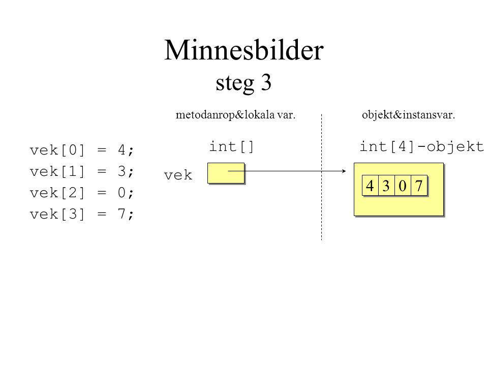 Minnesbilder steg 3 metodanrop&lokala var. objekt&instansvar.