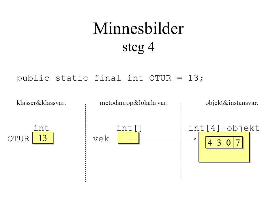 Minnesbilder steg 4 public static final int OTUR = 13; klasser&klassvar.metodanrop&lokala var.