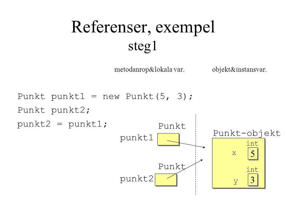 Referenser, exempel steg1 metodanrop&lokala var. objekt&instansvar.