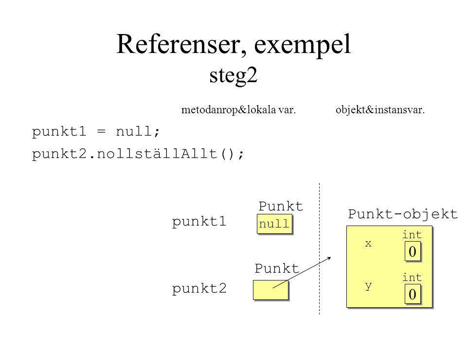 Referenser, exempel steg2 metodanrop&lokala var. objekt&instansvar.