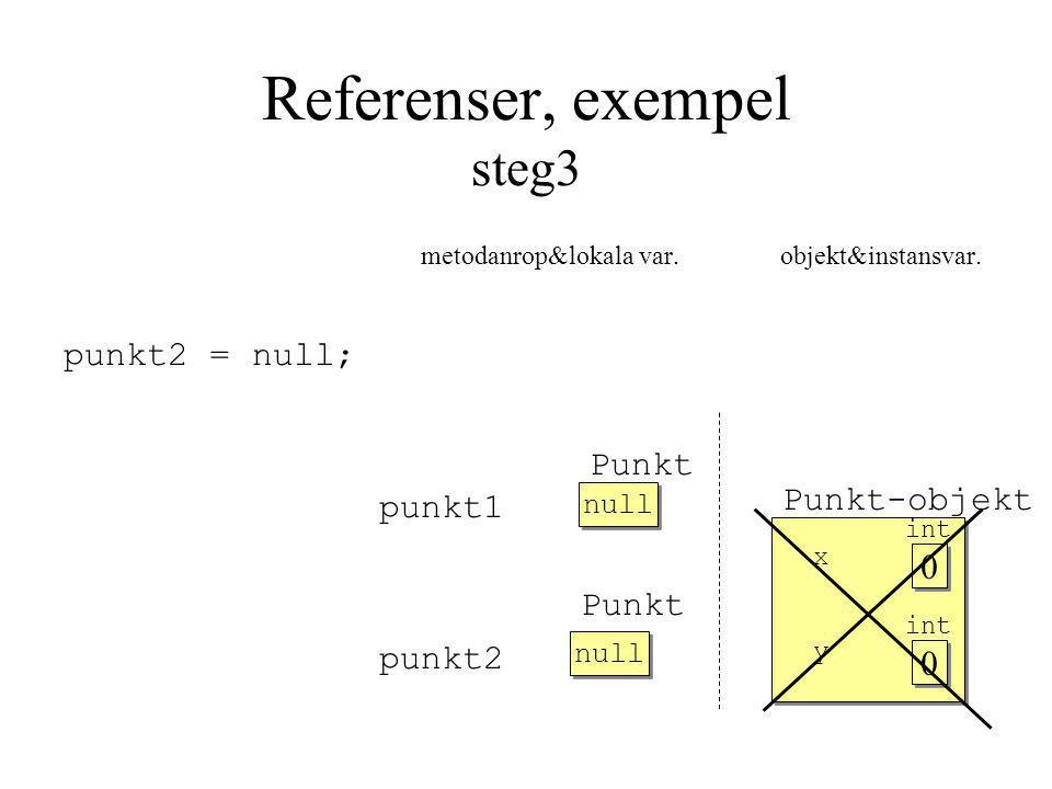 Referenser, exempel steg3 metodanrop&lokala var. objekt&instansvar.