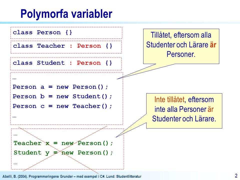 Abelli, B. (2004). Programmeringens Grunder – med exempel i C#. Lund: Studentlitteratur 22 Polymorfa variabler class Person {} class Teacher : Person
