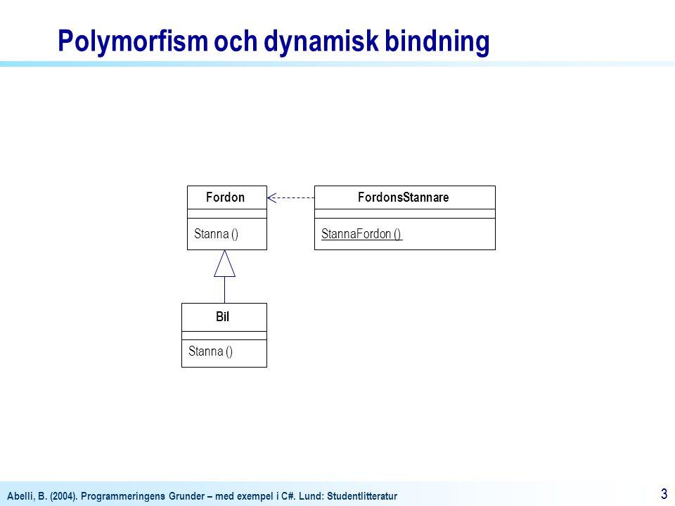 Abelli, B. (2004). Programmeringens Grunder – med exempel i C#. Lund: Studentlitteratur 33 Bil Stanna () Fordon Stanna () FordonsStannare StannaFordon