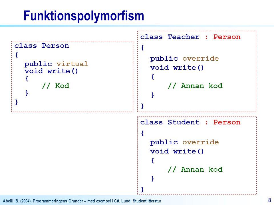 Abelli, B. (2004). Programmeringens Grunder – med exempel i C#. Lund: Studentlitteratur 88 Funktionspolymorfism class Person { public virtual void wri