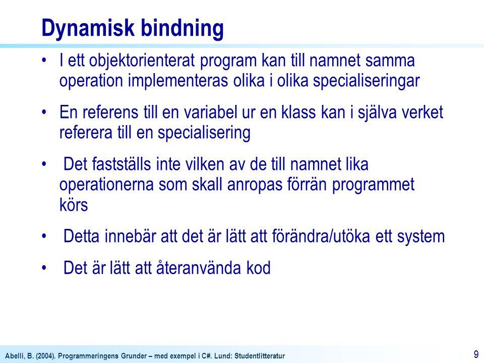 Abelli, B. (2004). Programmeringens Grunder – med exempel i C#. Lund: Studentlitteratur 99 Dynamisk bindning I ett objektorienterat program kan till n