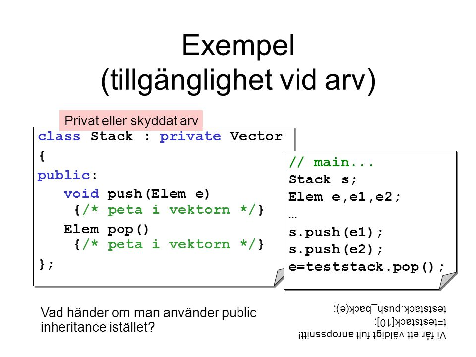 Exempel (tillgänglighet vid arv) class Stack : private Vector { public: void push(Elem e) {/* peta i vektorn */} Elem pop() {/* peta i vektorn */} }; class Stack : private Vector { public: void push(Elem e) {/* peta i vektorn */} Elem pop() {/* peta i vektorn */} }; // main...