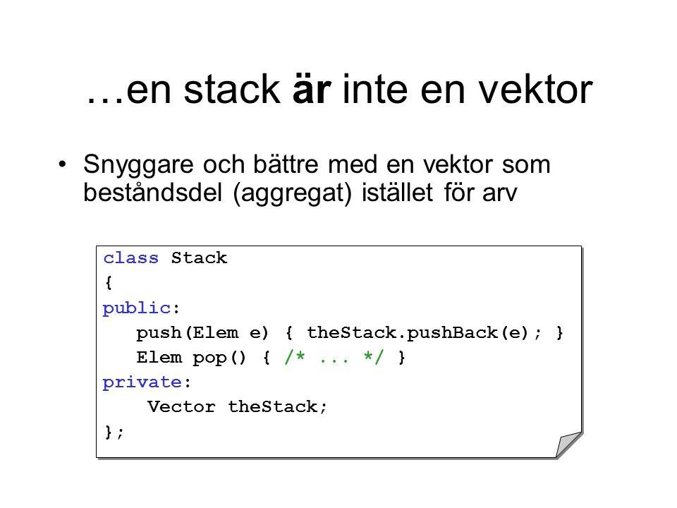 …en stack är inte en vektor Snyggare och bättre med en vektor som beståndsdel (aggregat) istället för arv class Stack { public: push(Elem e) { theStack.pushBack(e); } Elem pop() { /*...