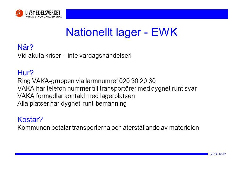 NATIONAL FOOD ADMINISTRATION 2014-12-12 Nationellt lager - EWK När? Vid akuta kriser – inte vardagshändelser! Hur? Ring VAKA-gruppen via larmnumret 02