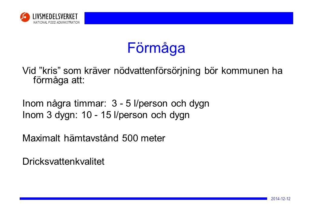 """NATIONAL FOOD ADMINISTRATION 2014-12-12 Förmåga Vid """"kris"""" som kräver nödvattenförsörjning bör kommunen ha förmåga att: Inom några timmar: 3 - 5 l/per"""