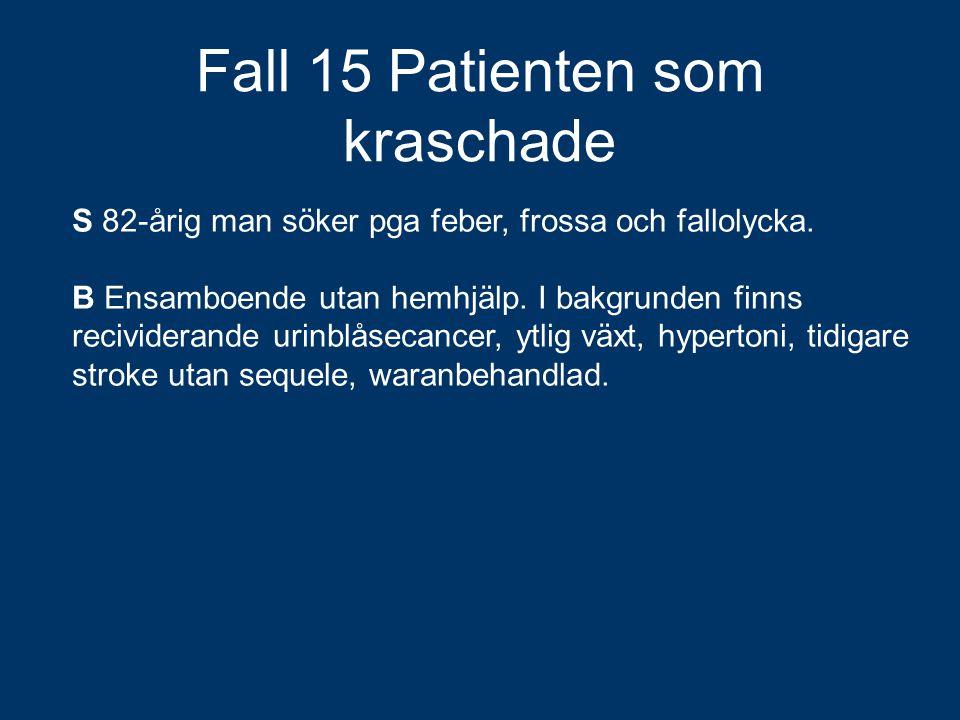 Fall 15 Patienten som kraschade S 82-årig man söker pga feber, frossa och fallolycka. B Ensamboende utan hemhjälp. I bakgrunden finns recividerande ur
