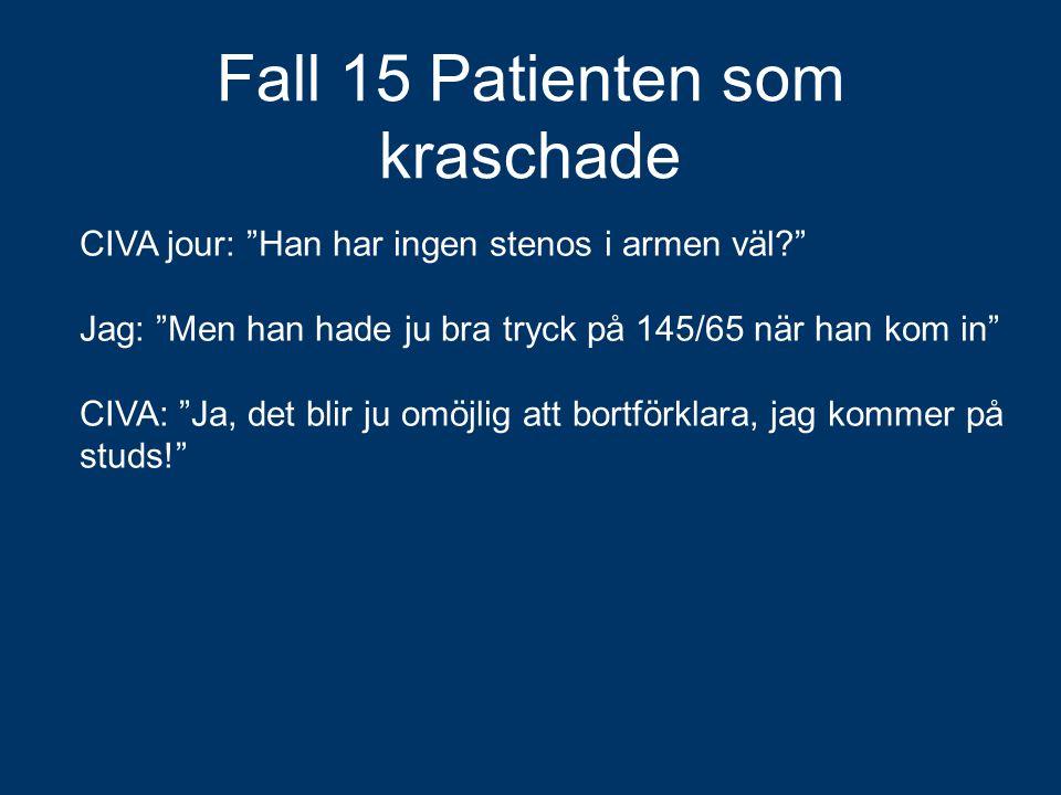 """Fall 15 Patienten som kraschade CIVA jour: """"Han har ingen stenos i armen väl?"""" Jag: """"Men han hade ju bra tryck på 145/65 när han kom in"""" CIVA: """"Ja, de"""
