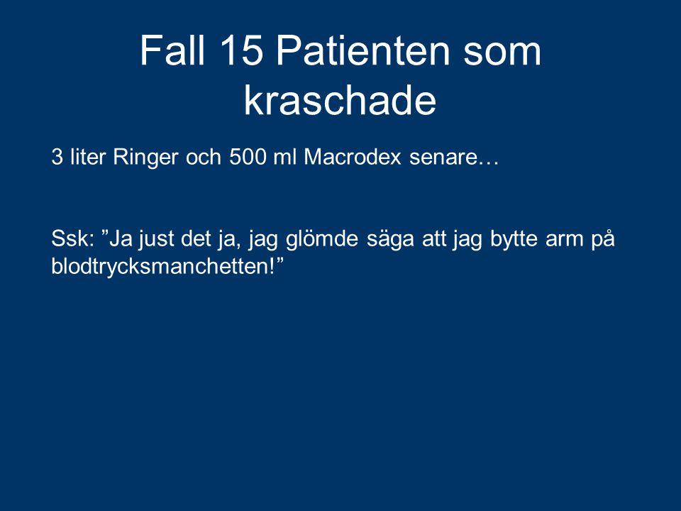 """Fall 15 Patienten som kraschade 3 liter Ringer och 500 ml Macrodex senare… Ssk: """"Ja just det ja, jag glömde säga att jag bytte arm på blodtrycksmanche"""
