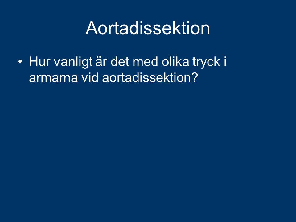 Aortadissektion Hur vanligt är det med olika tryck i armarna vid aortadissektion?