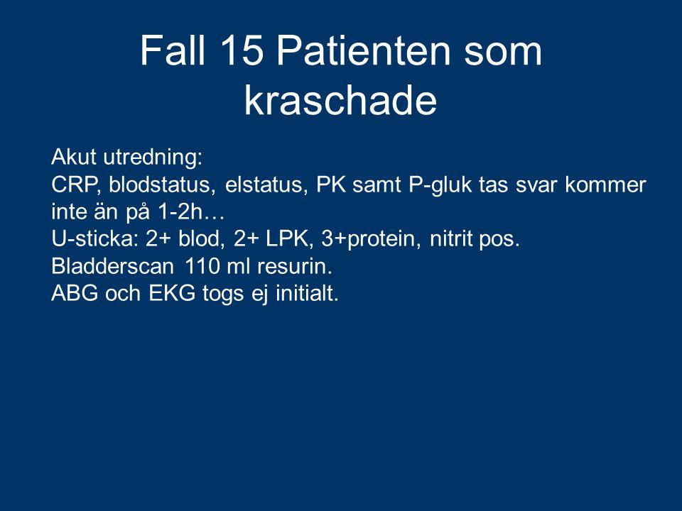 Akut utredning: CRP, blodstatus, elstatus, PK samt P-gluk tas svar kommer inte än på 1-2h… U-sticka: 2+ blod, 2+ LPK, 3+protein, nitrit pos. Bladdersc