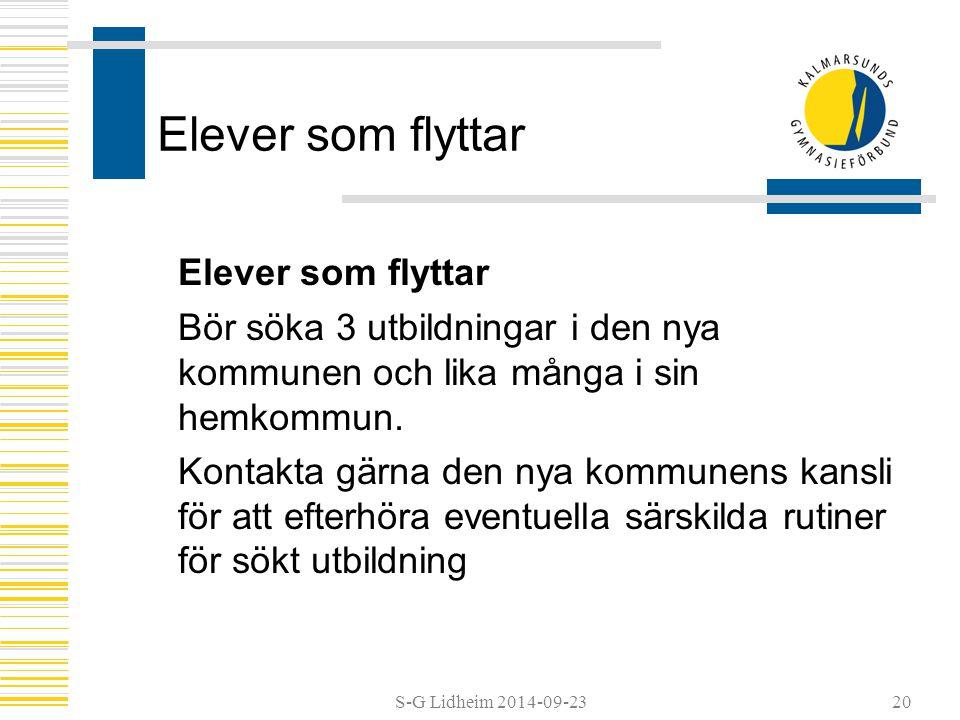 S-G Lidheim 2014-09-2320 Elever som flyttar Bör söka 3 utbildningar i den nya kommunen och lika många i sin hemkommun.