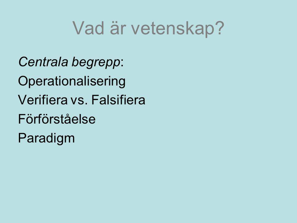 Vad är vetenskap.Centrala begrepp: Operationalisering Verifiera vs.