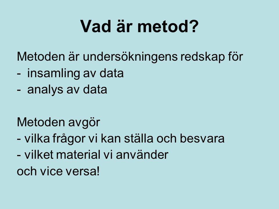 Vad är metod? Metoden är undersökningens redskap för -insamling av data -analys av data Metoden avgör - vilka frågor vi kan ställa och besvara - vilke