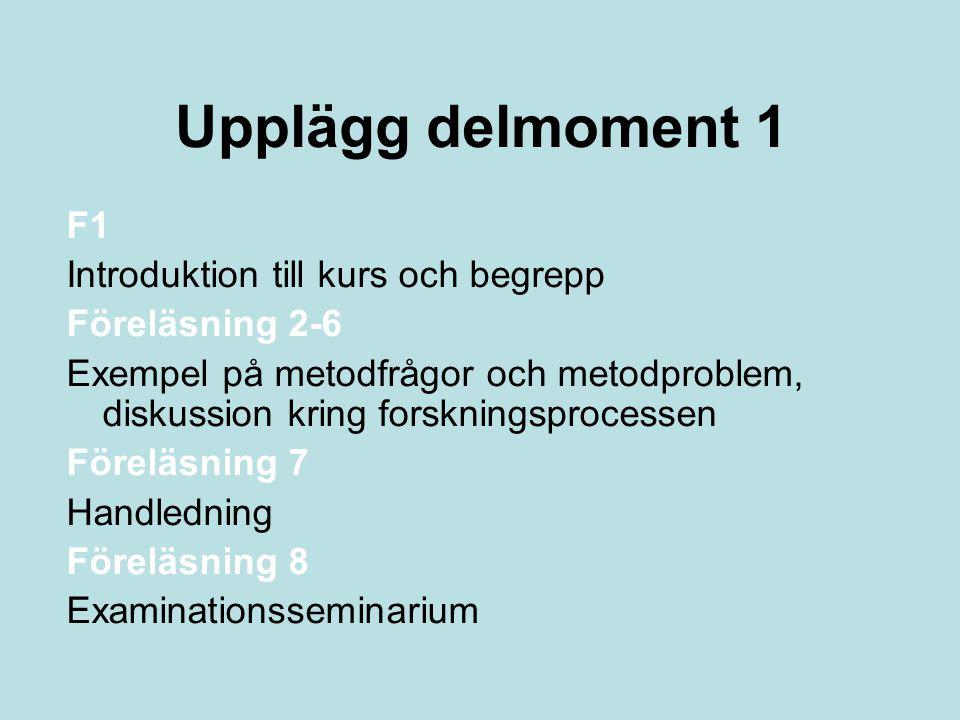 Upplägg delmoment 1 F1 Introduktion till kurs och begrepp Föreläsning 2-6 Exempel på metodfrågor och metodproblem, diskussion kring forskningsprocessen Föreläsning 7 Handledning Föreläsning 8 Examinationsseminarium