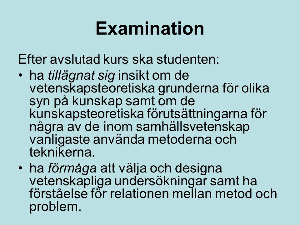 Examination Efter avslutad kurs ska studenten: ha tillägnat sig insikt om de vetenskapsteoretiska grunderna för olika syn på kunskap samt om de kunska