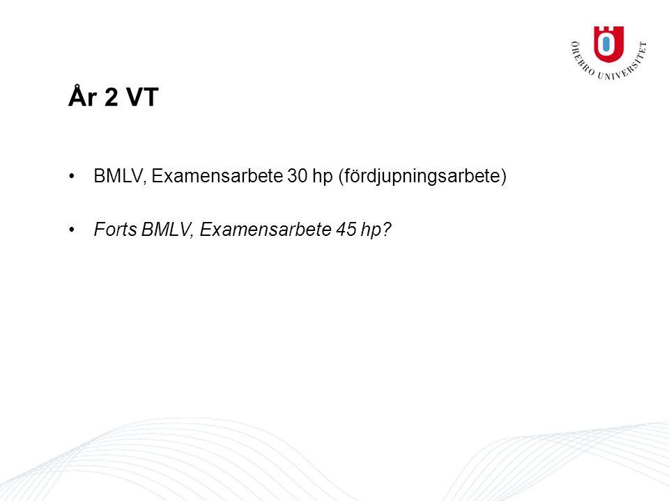 År 2 VT BMLV, Examensarbete 30 hp (fördjupningsarbete) Forts BMLV, Examensarbete 45 hp?