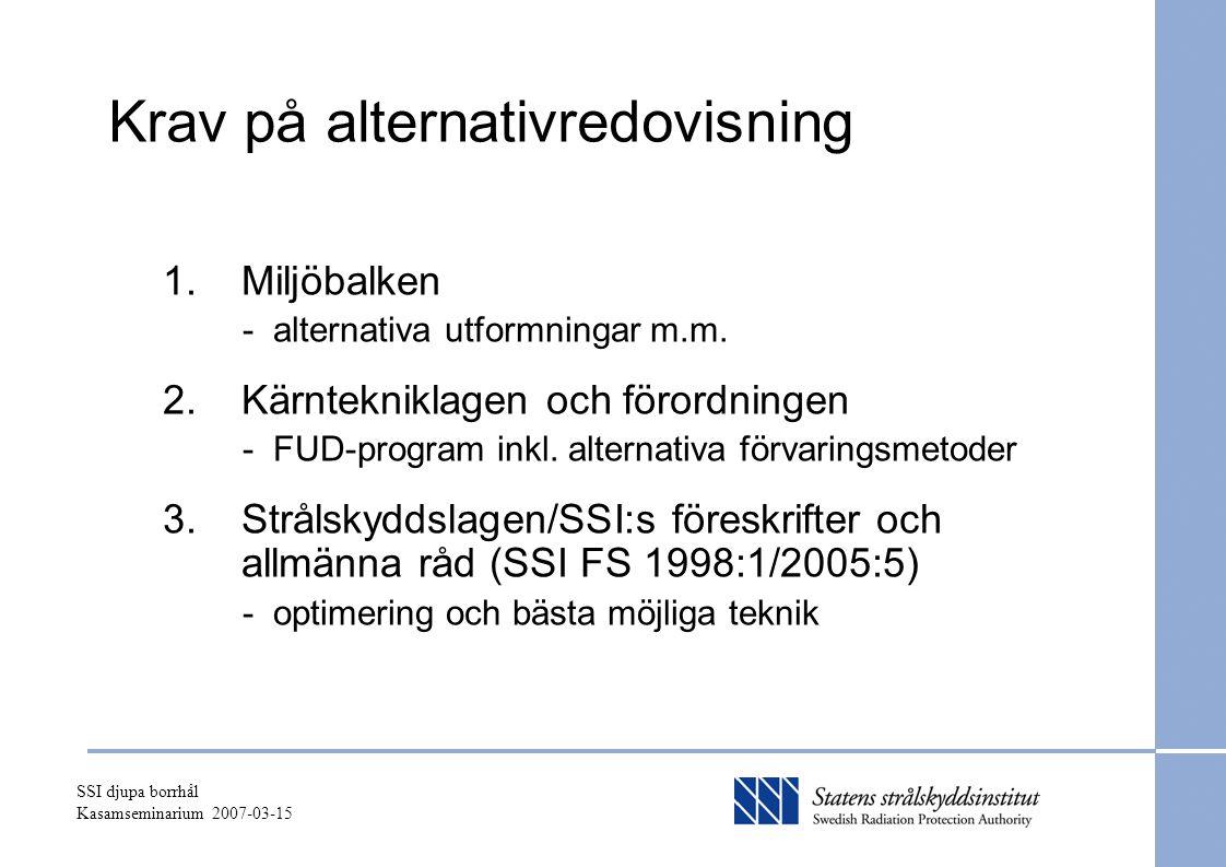 SSI djupa borrhål Kasamseminarium 2007-03-15 Krav på alternativredovisning 1.Miljöbalken - alternativa utformningar m.m. 2.Kärntekniklagen och förordn