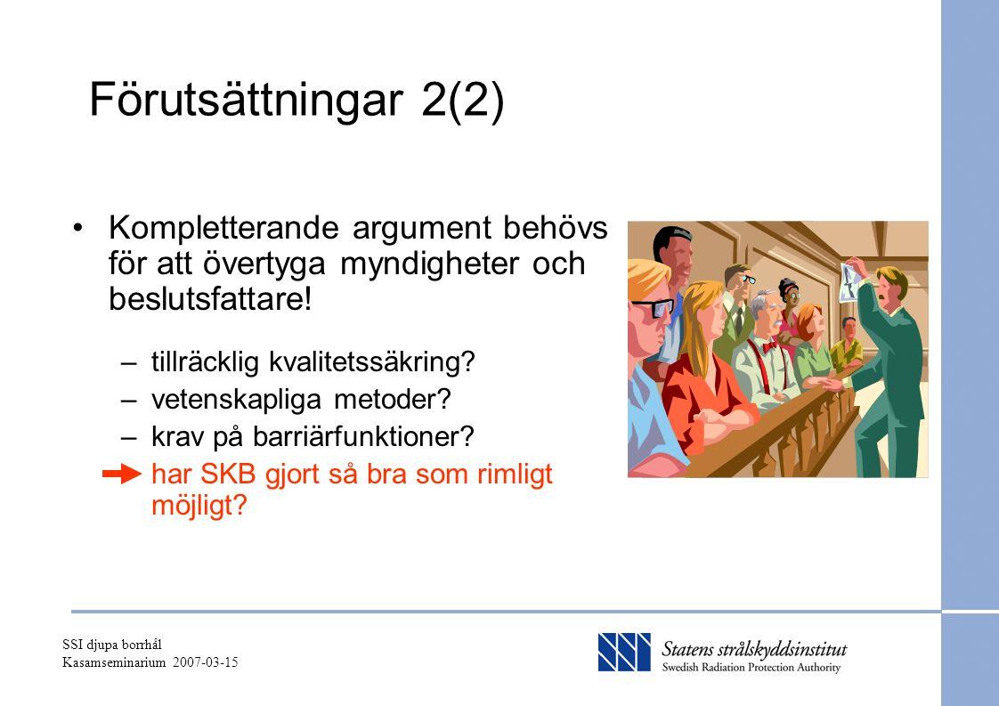 SSI djupa borrhål Kasamseminarium 2007-03-15 Förutsättningar 2(2) Kompletterande argument behövs för att övertyga myndigheter och beslutsfattare! –til