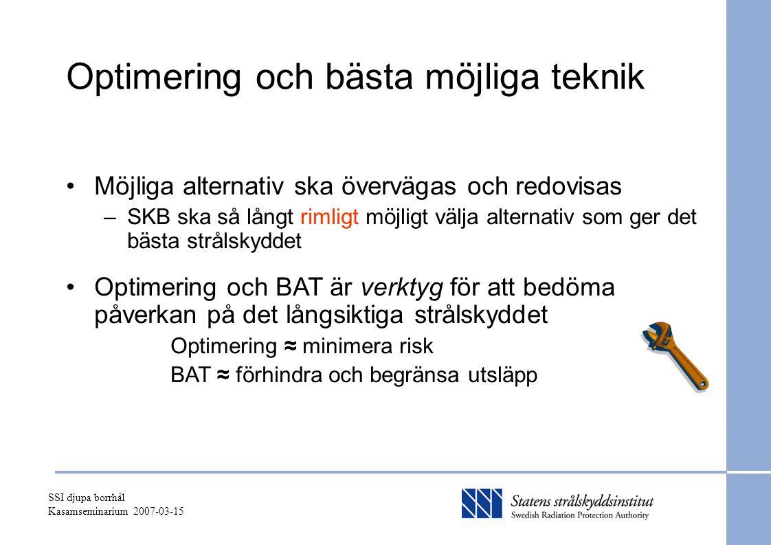 SSI djupa borrhål Kasamseminarium 2007-03-15 Optimering och bästa möjliga teknik Möjliga alternativ ska övervägas och redovisas –SKB ska så långt rimligt möjligt välja alternativ som ger det bästa strålskyddet Optimering och BAT är verktyg för att bedöma påverkan på det långsiktiga strålskyddet Optimering ≈ minimera risk BAT ≈ förhindra och begränsa utsläpp