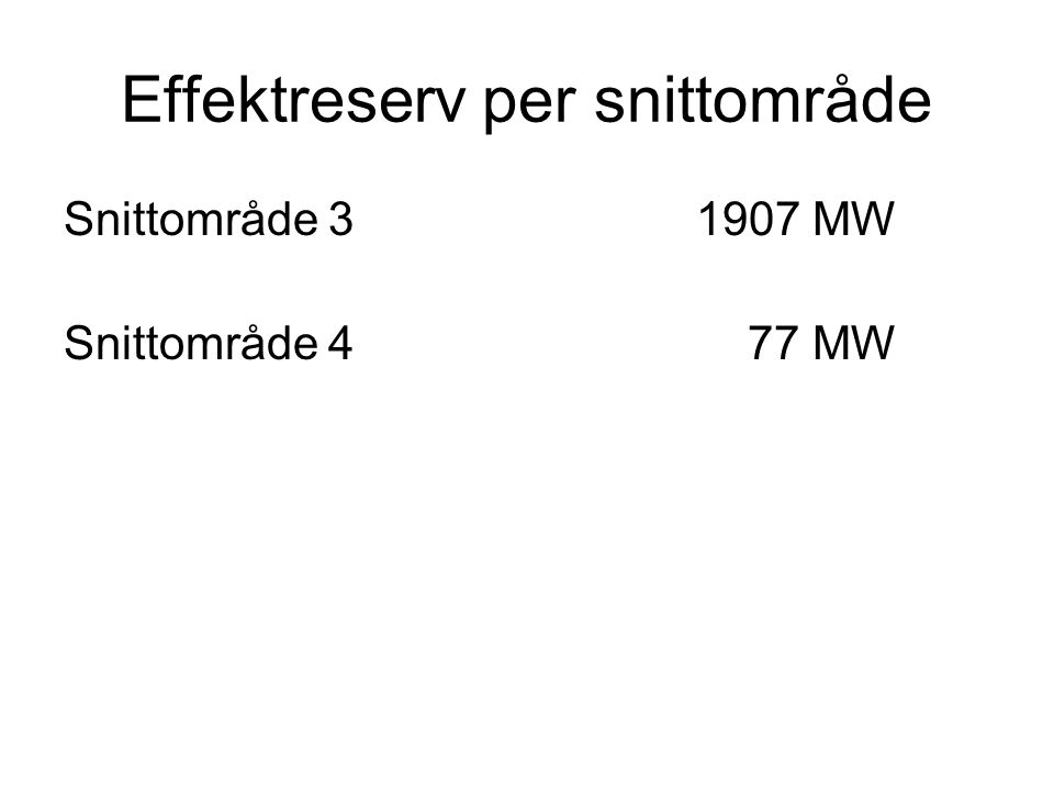 Effektreserv per snittområde Snittområde 31907 MW Snittområde 4 77 MW