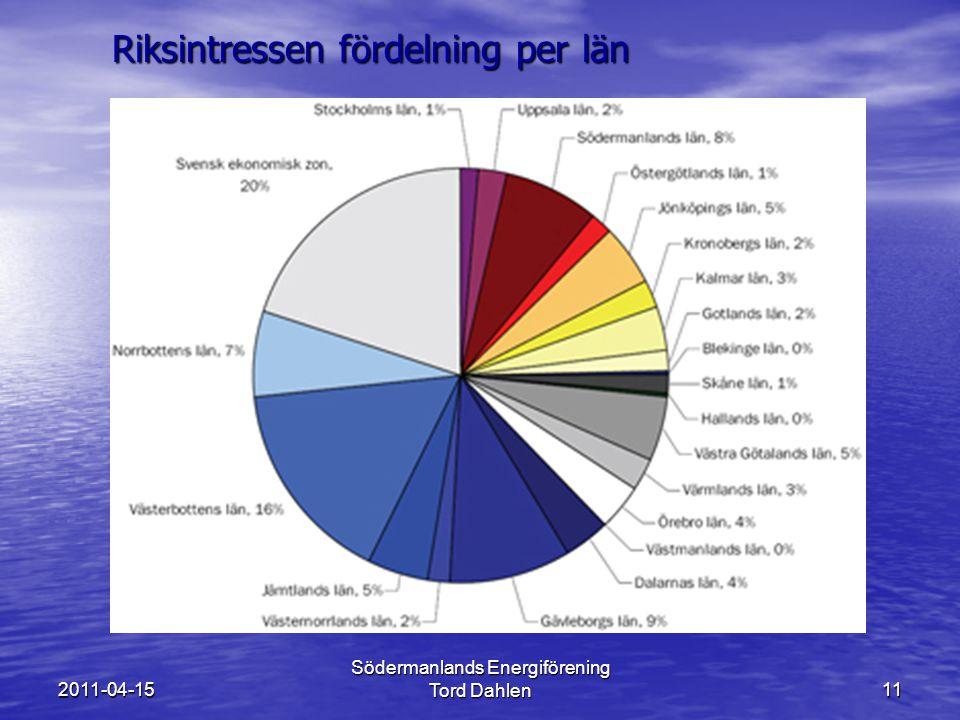 2011-04-15 Södermanlands Energiförening Tord Dahlen11 Riksintressen fördelning per län