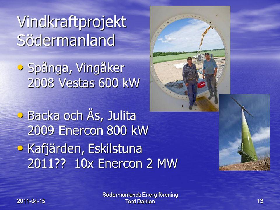 2011-04-15 Södermanlands Energiförening Tord Dahlen13 Vindkraftprojekt Södermanland Spånga, Vingåker 2008 Vestas 600 kW Spånga, Vingåker 2008 Vestas 600 kW Backa och Äs, Julita 2009 Enercon 800 kW Backa och Äs, Julita 2009 Enercon 800 kW Kafjärden, Eskilstuna 2011 .