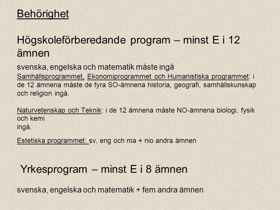 Behörighet Högskoleförberedande program – minst E i 12 ämnen svenska, engelska och matematik måste ingå Samhällsprogrammet, Ekonomiprogrammet och Huma