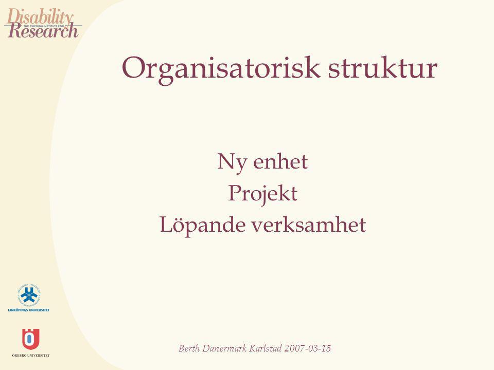 Berth Danermark Karlstad 2007-03-15 Organisatorisk struktur Ny enhet Projekt Löpande verksamhet