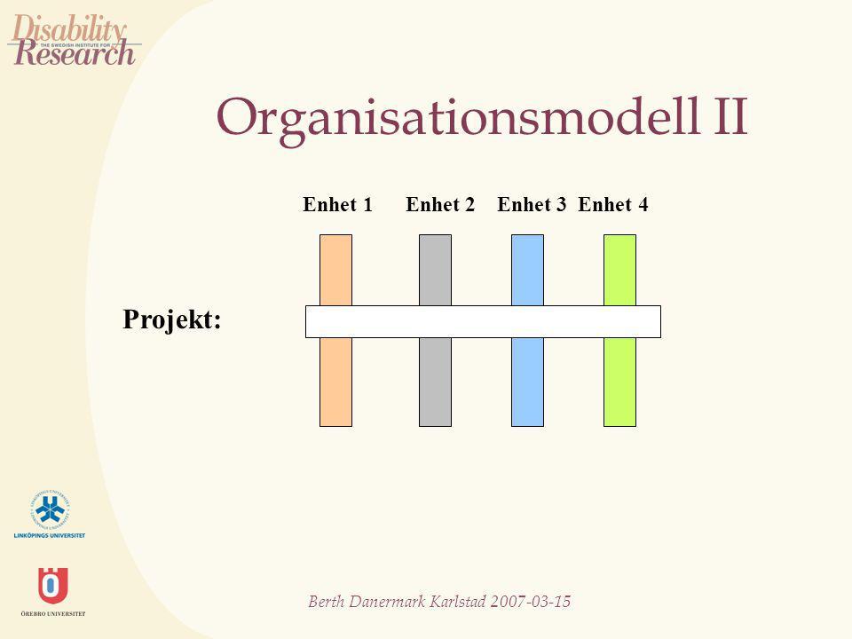 Berth Danermark Karlstad 2007-03-15 Organisationsmodell II Projekt: Enhet 1 Enhet 2 Enhet 3 Enhet 4