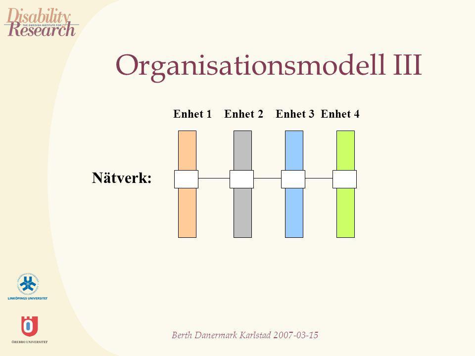Berth Danermark Karlstad 2007-03-15 Organisationsmodell III Nätverk: Enhet 1 Enhet 2 Enhet 3 Enhet 4