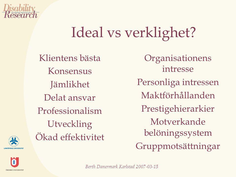 Berth Danermark Karlstad 2007-03-15 Skilda synsätt (olika diskurser) Människan är en helhet (ett bio-psyko-socialt synsätt) Olika kunskapsområden möts Oenighet om vad som är sanning Skillnader i makt (vem definierar problemet?) Skillnader i språk