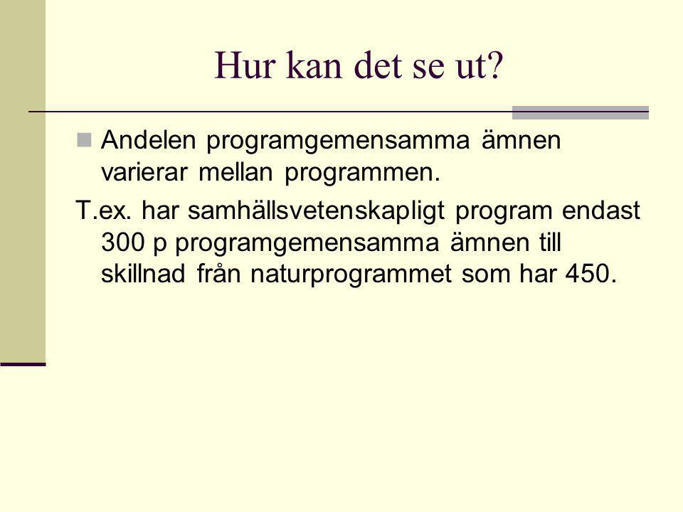 Hur kan det se ut.Andelen programgemensamma ämnen varierar mellan programmen.