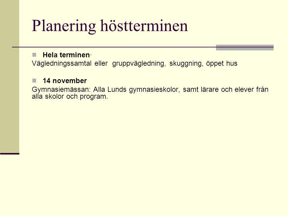 Planering höstterminen Hela terminen· Vägledningssamtal eller gruppvägledning, skuggning, öppet hus 14 november Gymnasiemässan: Alla Lunds gymnasieskolor, samt lärare och elever från alla skolor och program.