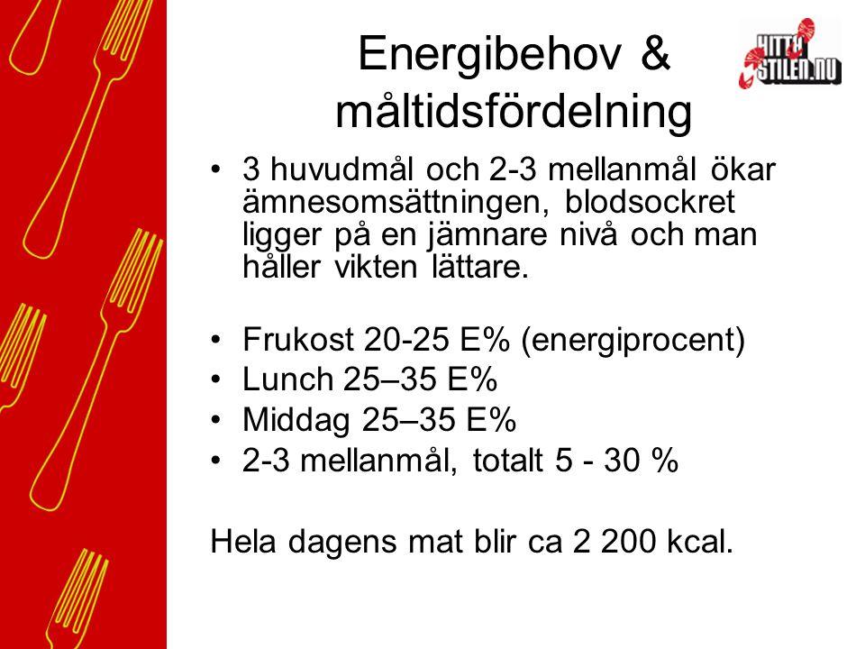 Energibehov & måltidsfördelning 3 huvudmål och 2-3 mellanmål ökar ämnesomsättningen, blodsockret ligger på en jämnare nivå och man håller vikten lättare.