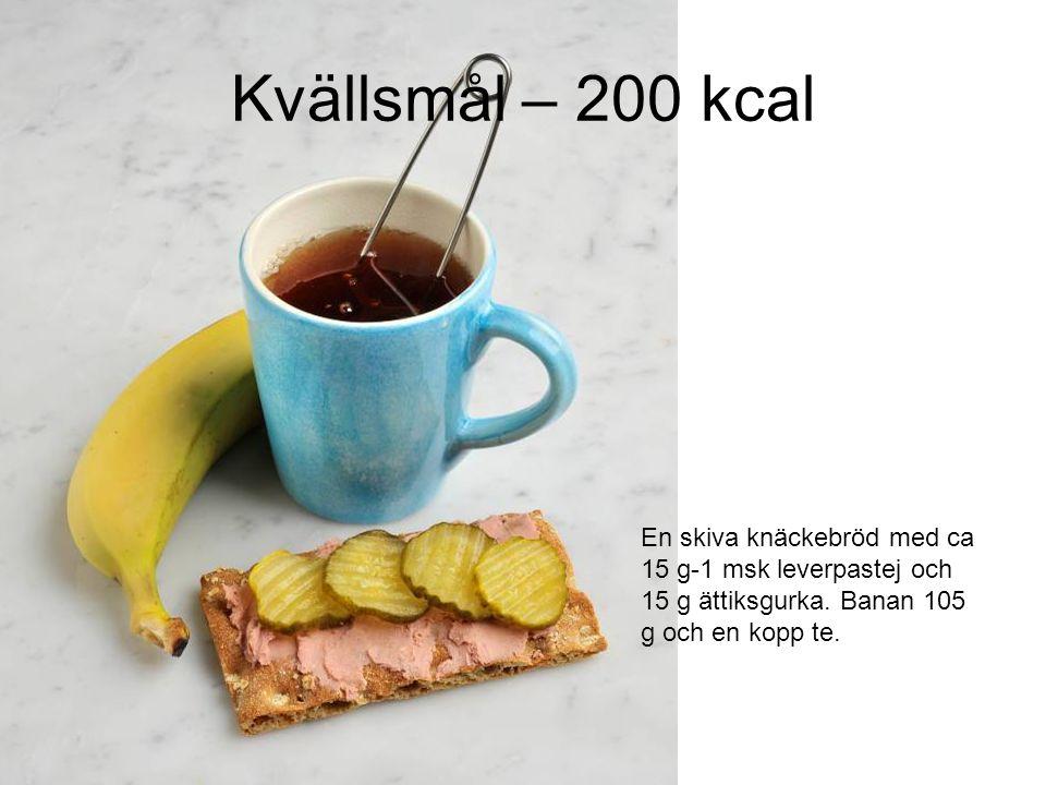 Kvällsmål – 200 kcal En skiva knäckebröd med ca 15 g-1 msk leverpastej och 15 g ättiksgurka.