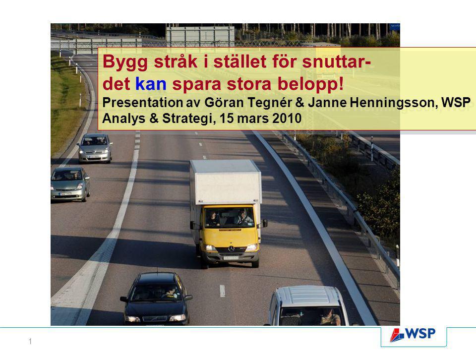1 Bygg stråk i stället för snuttar- det kan spara stora belopp! Presentation av Göran Tegnér & Janne Henningsson, WSP Analys & Strategi, 15 mars 2010