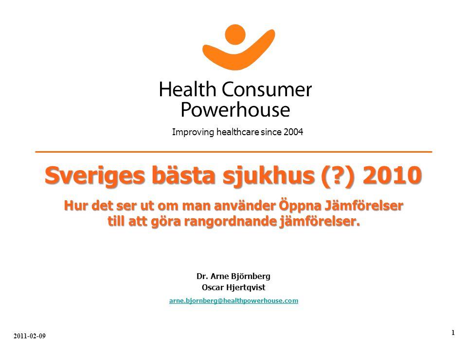 Sveriges bästa sjukhus ( ) 2010 Hur det ser ut om man använder Öppna Jämförelser till att göra rangordnande jämförelser.